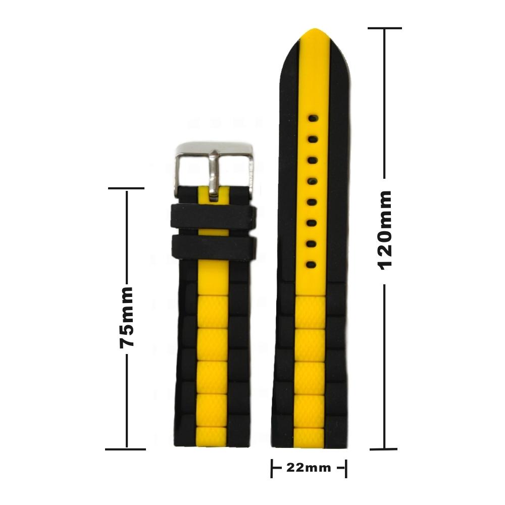 22mm elegantes schwarz mit gelb silikon gelee uhr band. Black Bedroom Furniture Sets. Home Design Ideas